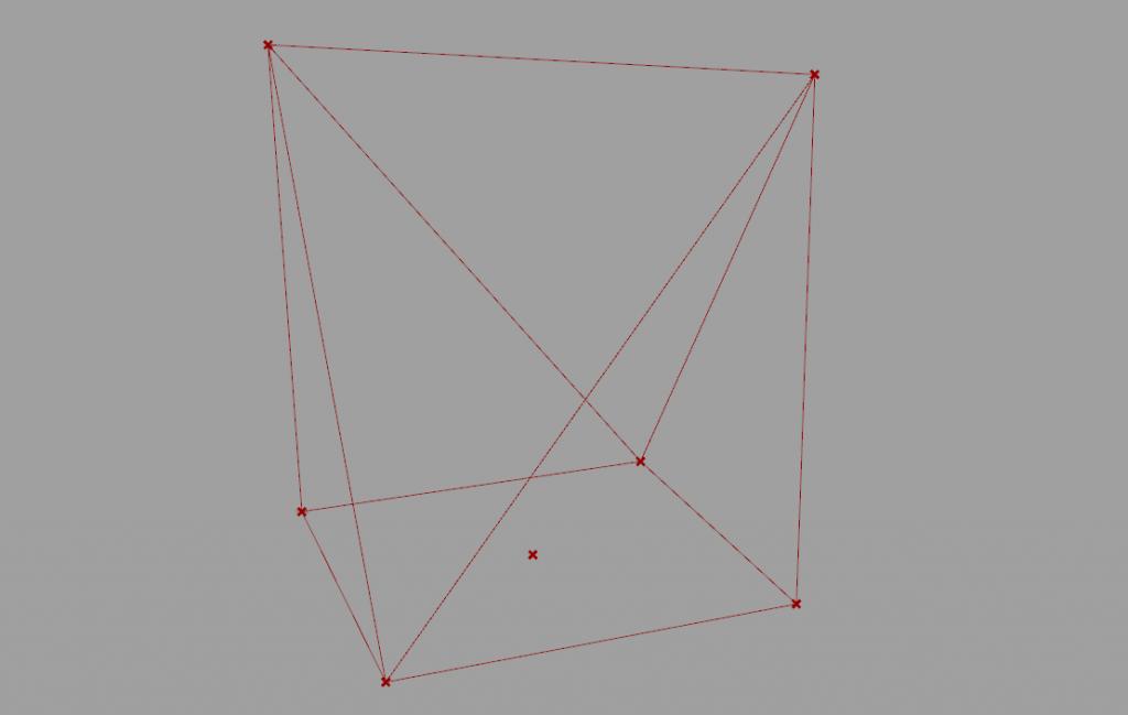 出力結果。折り紙のような軸組モデル。