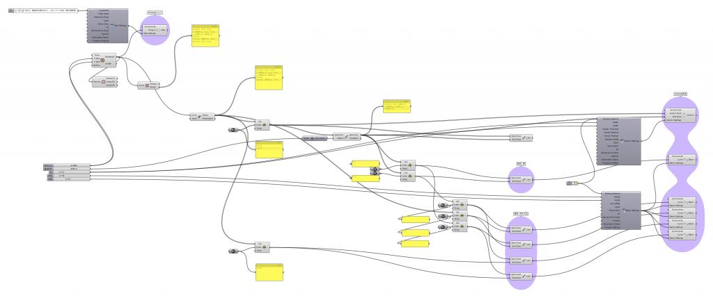 Archicadコンポーネントを接続した状態のGHファイル。