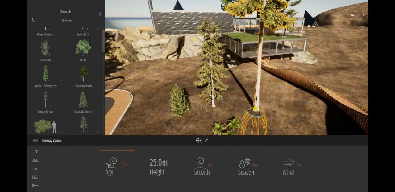 樹木サイズが変わると木の形も変わる - Twinmotion 2020 Previewより