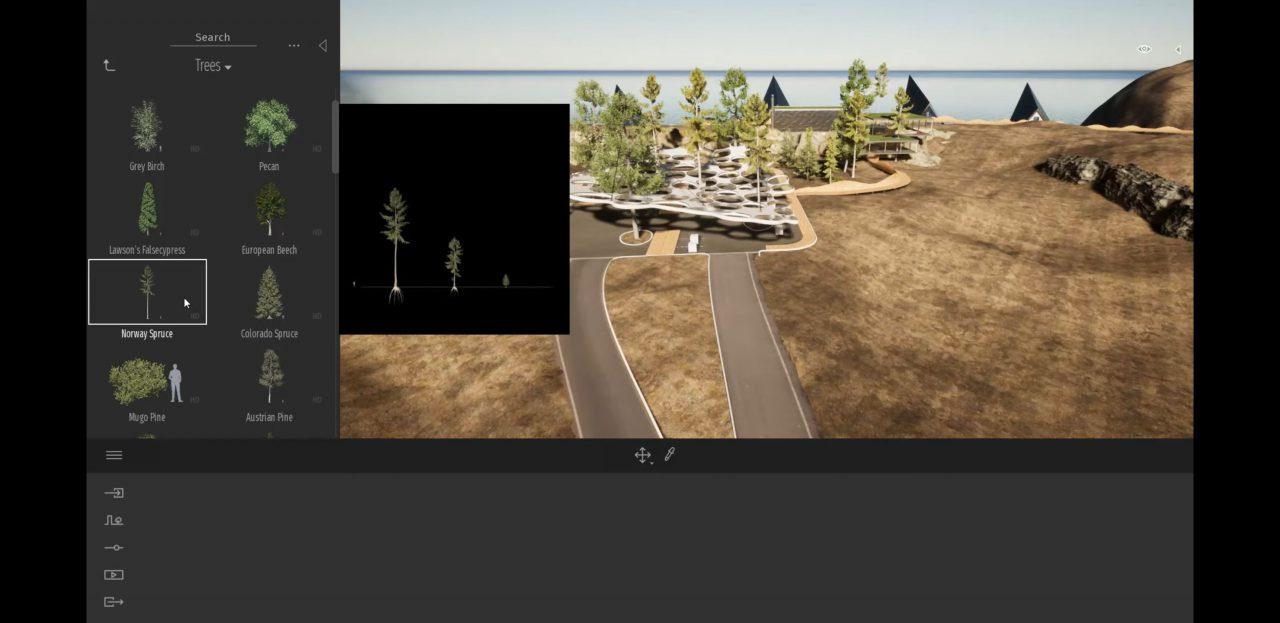 樹木の形の変化がプレビューでも確認できます。 - Twinmotion 2020 Previewより